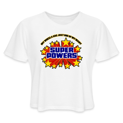 Superpowers Button - Women's Cropped T-Shirt