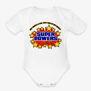 Superpowers Button - Short Sleeve Baby Bodysuit