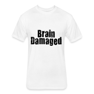 Brain Damaged Button - Fitted Cotton/Poly T-Shirt by Next Level