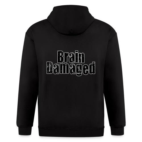 Brain Damaged Button - Men's Zip Hoodie