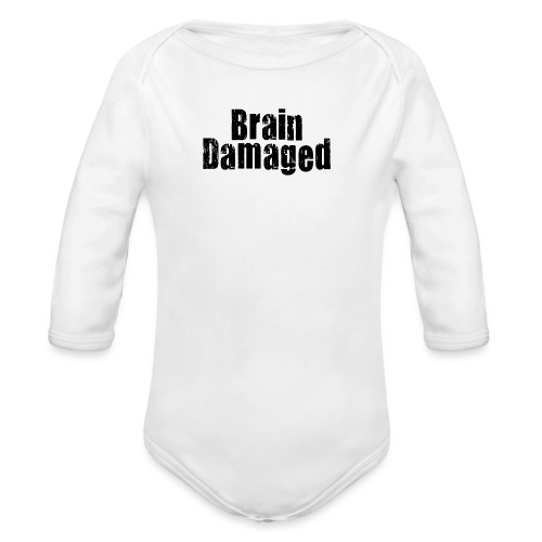 Brain Damaged Button - Organic Long Sleeve Baby Bodysuit