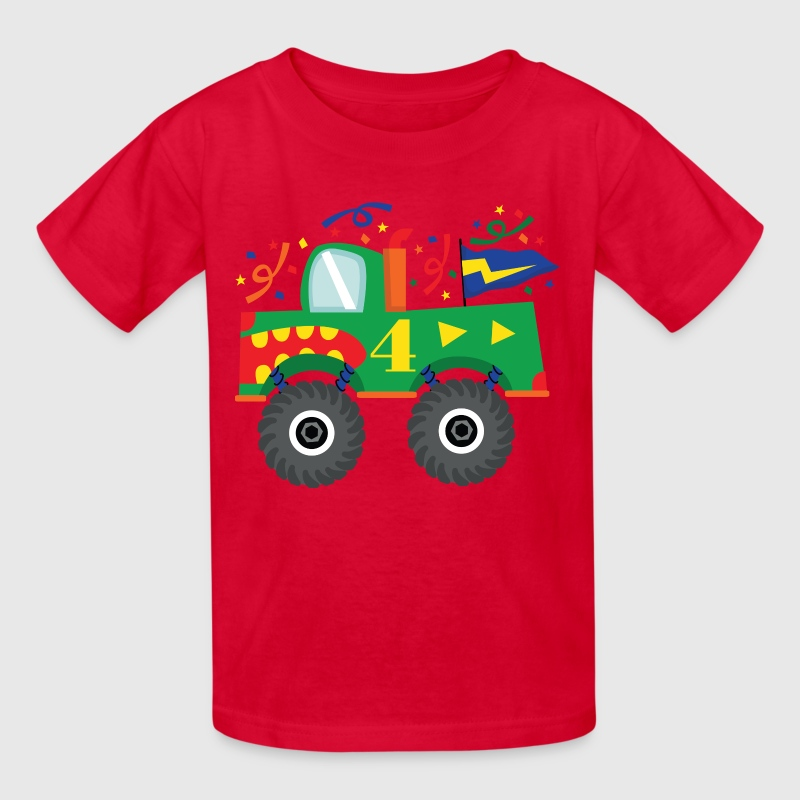 4th Birthday Monster Truck Kids' Shirts - Kids' T-Shirt