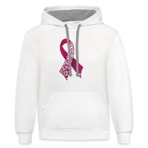 BREAST CANCER RIBBON LEOPARD PRINT  - Contrast Hoodie