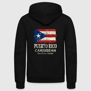 Puerto Rico Flag - Vintage Look Women's T-Shirts - Unisex Fleece Zip Hoodie by American Apparel