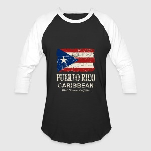 Puerto Rico Flag - Vintage Look Long Sleeve Shirts - Baseball T-Shirt