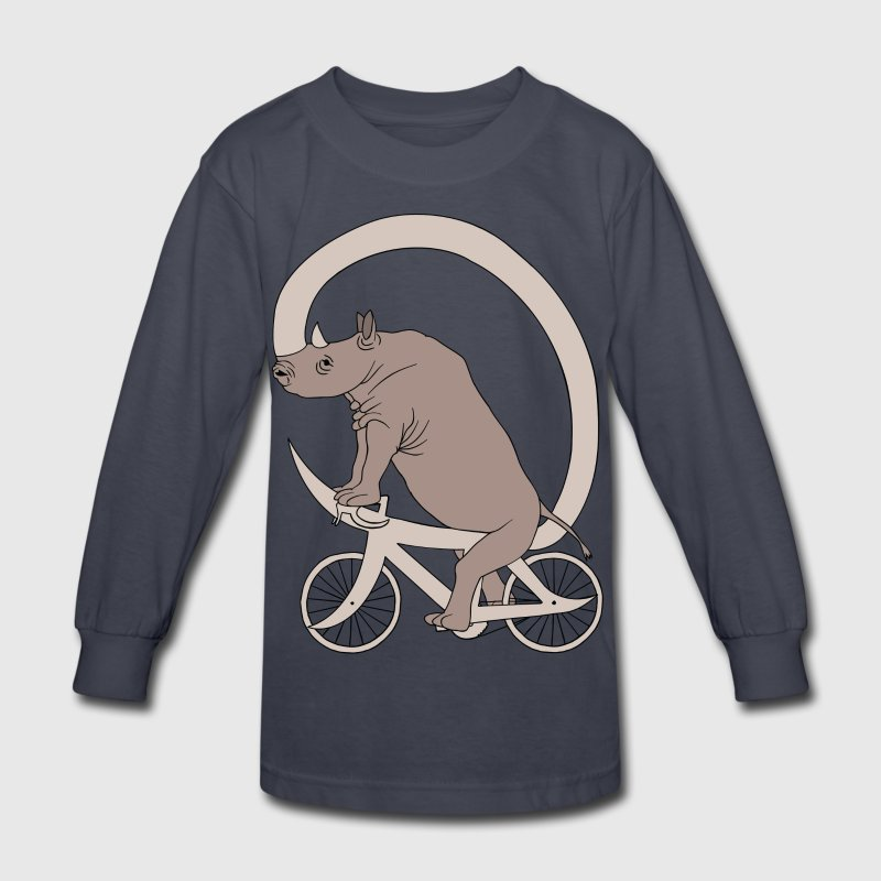 Rhino Riding It's Horn Bike  Kids' Shirts - Kids' Long Sleeve T-Shirt