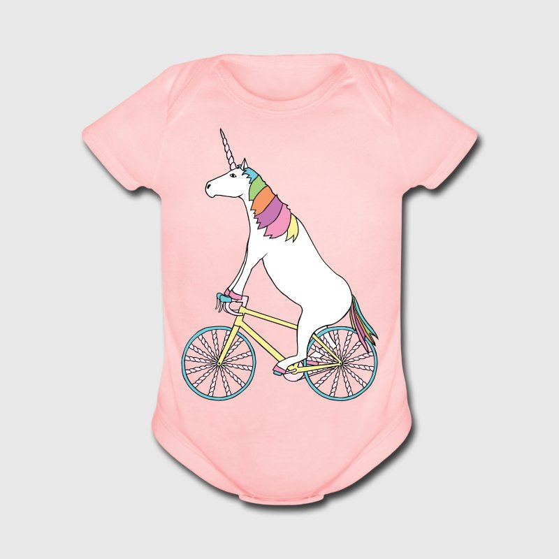 Unicorn Riding Bike With Unicorn Horn Spoked Wheel Baby Bodysuits - Short Sleeve Baby Bodysuit