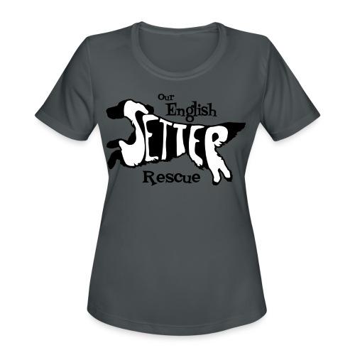 Men's single-sided Black/white setter design on front - Women's Moisture Wicking Performance T-Shirt