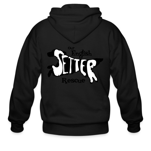 Men's single-sided Black/white setter design on front - Men's Zip Hoodie