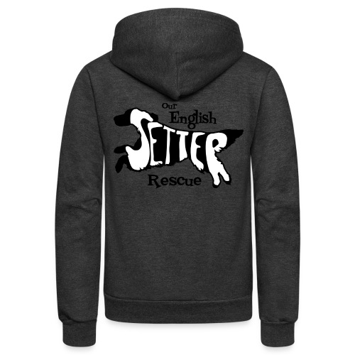 Men's single-sided Black/white setter design on front - Unisex Fleece Zip Hoodie