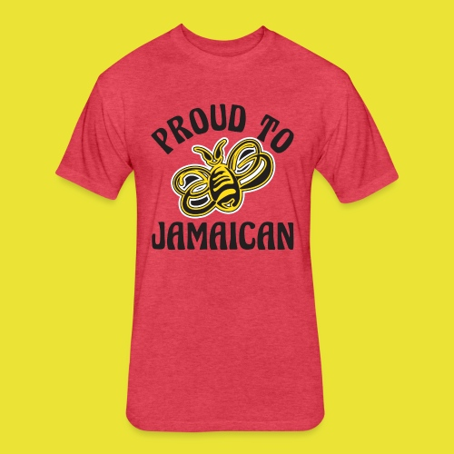 Proud To Bee Jamaican (men) - Fitted Cotton/Poly T-Shirt by Next Level