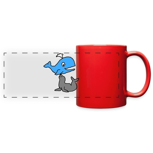 whale and seal mug red  - Full Color Panoramic Mug