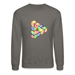 Impossible construction of a triangle of wooden toy blocks - Crewneck Sweatshirt