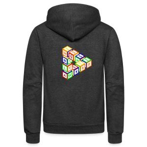 Impossible construction of a triangle of wooden toy blocks - Unisex Fleece Zip Hoodie by American Apparel