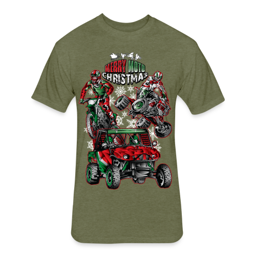 Merry Moto Christmas - Fitted Cotton/Poly T-Shirt by Next Level