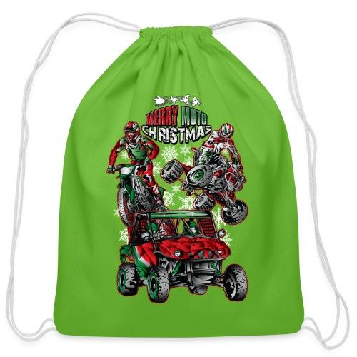 Merry Moto Christmas - Cotton Drawstring Bag