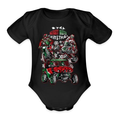 Merry Moto Christmas - Organic Short Sleeve Baby Bodysuit