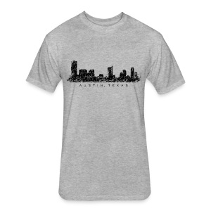 Austin, Texas Skyline T-Shirt (Men/Gray) - Fitted Cotton/Poly T-Shirt by Next Level