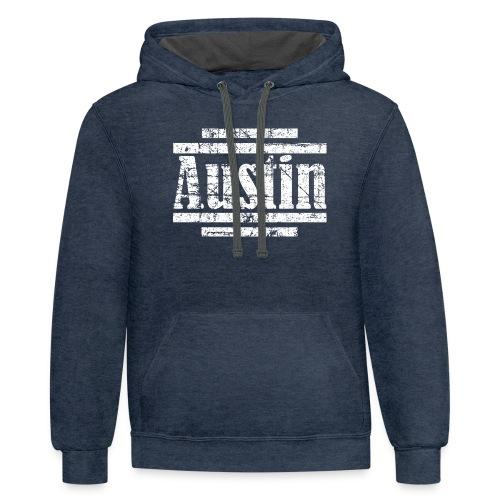 Austin T-Shirt (Men Navy/White) Vintage - Contrast Hoodie