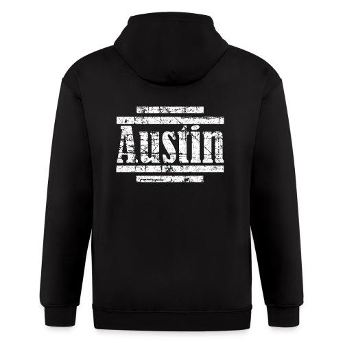 Austin T-Shirt (Men Navy/White) Vintage - Men's Zip Hoodie