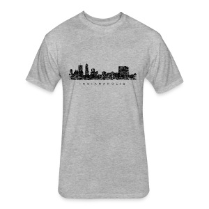 Indianapolis Skyline T-Shirt (Men/Gray) - Fitted Cotton/Poly T-Shirt by Next Level