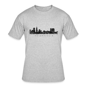 Indianapolis Skyline T-Shirt (Men/Gray) - Men's 50/50 T-Shirt