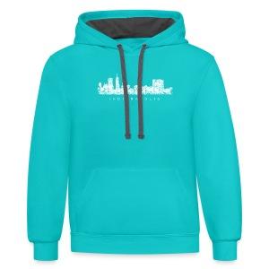 Indianapolis Skyline T-Shirt (Children/Green) - Contrast Hoodie