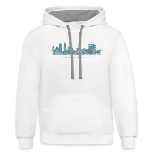 Indianapolis Skyline T-Shirt (Men/White) - Contrast Hoodie