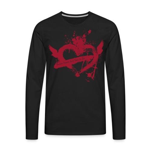 Broken Flying Splatter Heart - Men's Premium Long Sleeve T-Shirt