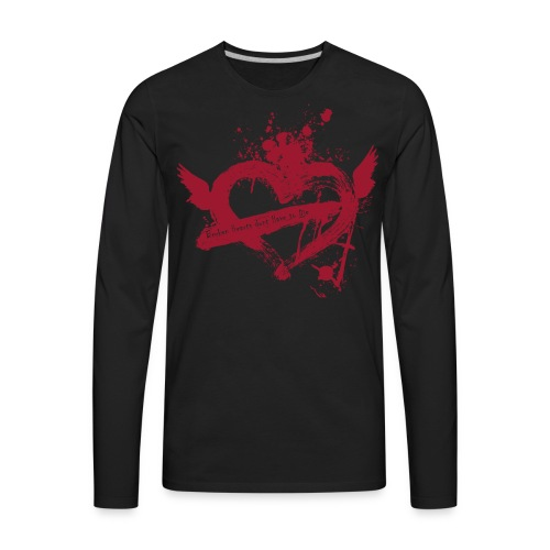 Broken Flying Splatter Heart - Men's Premium Long Sleeve T-Shirt