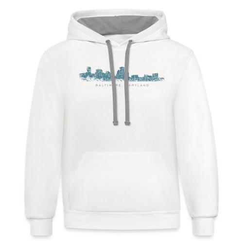 Baltimore, Maryland Skyline T-Shirt (Men/White) - Contrast Hoodie