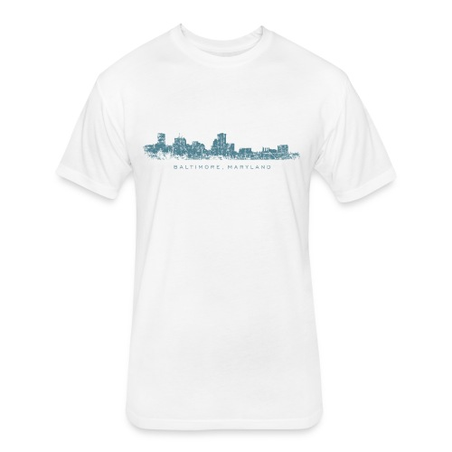 Baltimore, Maryland Skyline T-Shirt (Men/White) - Fitted Cotton/Poly T-Shirt by Next Level