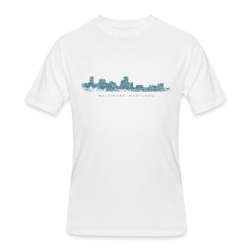 Baltimore, Maryland Skyline T-Shirt (Men/White) - Men's 50/50 T-Shirt