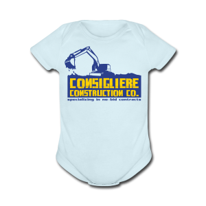 Consigliere Construction Co-Lt Blue - Short Sleeve Baby Bodysuit