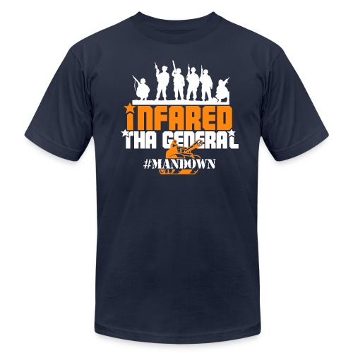 #Mandown T Navy/Orange/White - Men's Fine Jersey T-Shirt