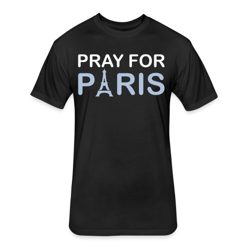 Pray For Paris - Fitted Cotton/Poly T-Shirt by Next Level