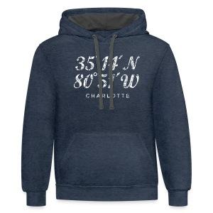 Charlotte, North Carolina Coordinates T-Shirt (Men/Navy) - Contrast Hoodie