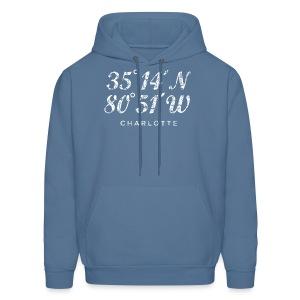 Charlotte, North Carolina Coordinates T-Shirt (Men/Navy) - Men's Hoodie