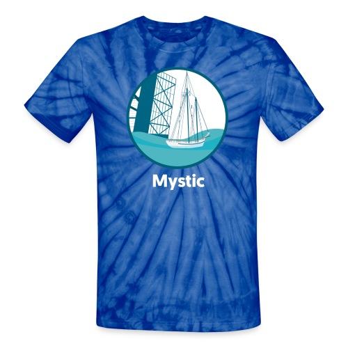 Mystic CT Drawbridge Unisex Tri Tee Shirt - Unisex Tie Dye T-Shirt