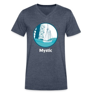 Mystic CT Drawbridge Unisex Tri Tee Shirt - Men's V-Neck T-Shirt by Canvas