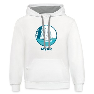 Mystic CT Drawbridge Men's Long Sleeve Tee Shirt Blue Lettering - Contrast Hoodie