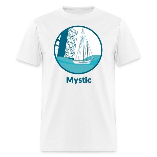 Mystic CT Drawbridge Men's Long Sleeve Tee Shirt Blue Lettering - Men's T-Shirt