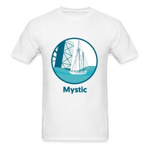Mystic CT Drawbridge Men's Long Sleeve Tee Shirt Blue Lettering - Men's T-Shirt