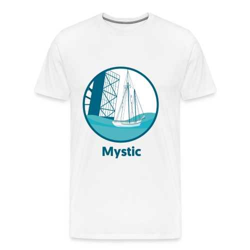 Mystic CT Drawbridge Men's Long Sleeve Tee Shirt Blue Lettering - Men's Premium T-Shirt