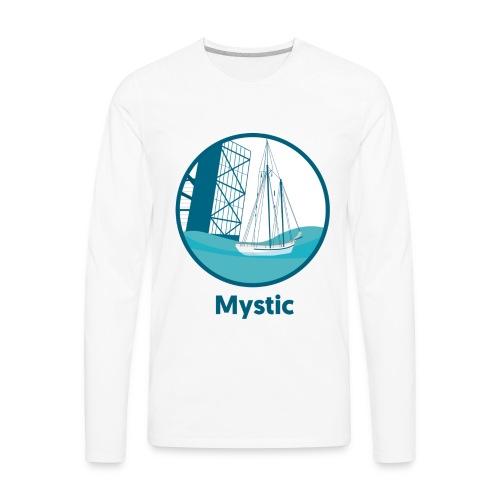 Mystic CT Drawbridge Men's Long Sleeve Tee Shirt Blue Lettering - Men's Premium Long Sleeve T-Shirt