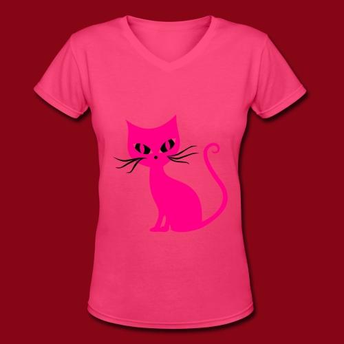 Pretty Cat! - Women's V-Neck T-Shirt