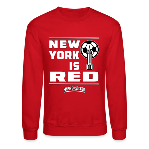 NY is RED - Men's Hoodie, Red - Crewneck Sweatshirt