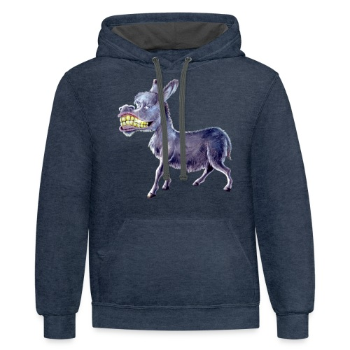 Funny Keep Smiling Donkey - Contrast Hoodie
