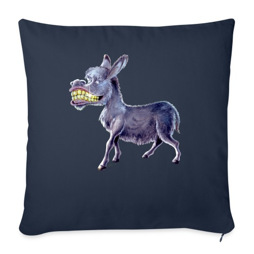 "Funny Keep Smiling Donkey - Throw Pillow Cover 18"" x 18"""