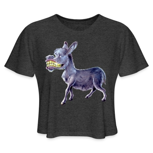 Funny Keep Smiling Donkey - Women's Cropped T-Shirt